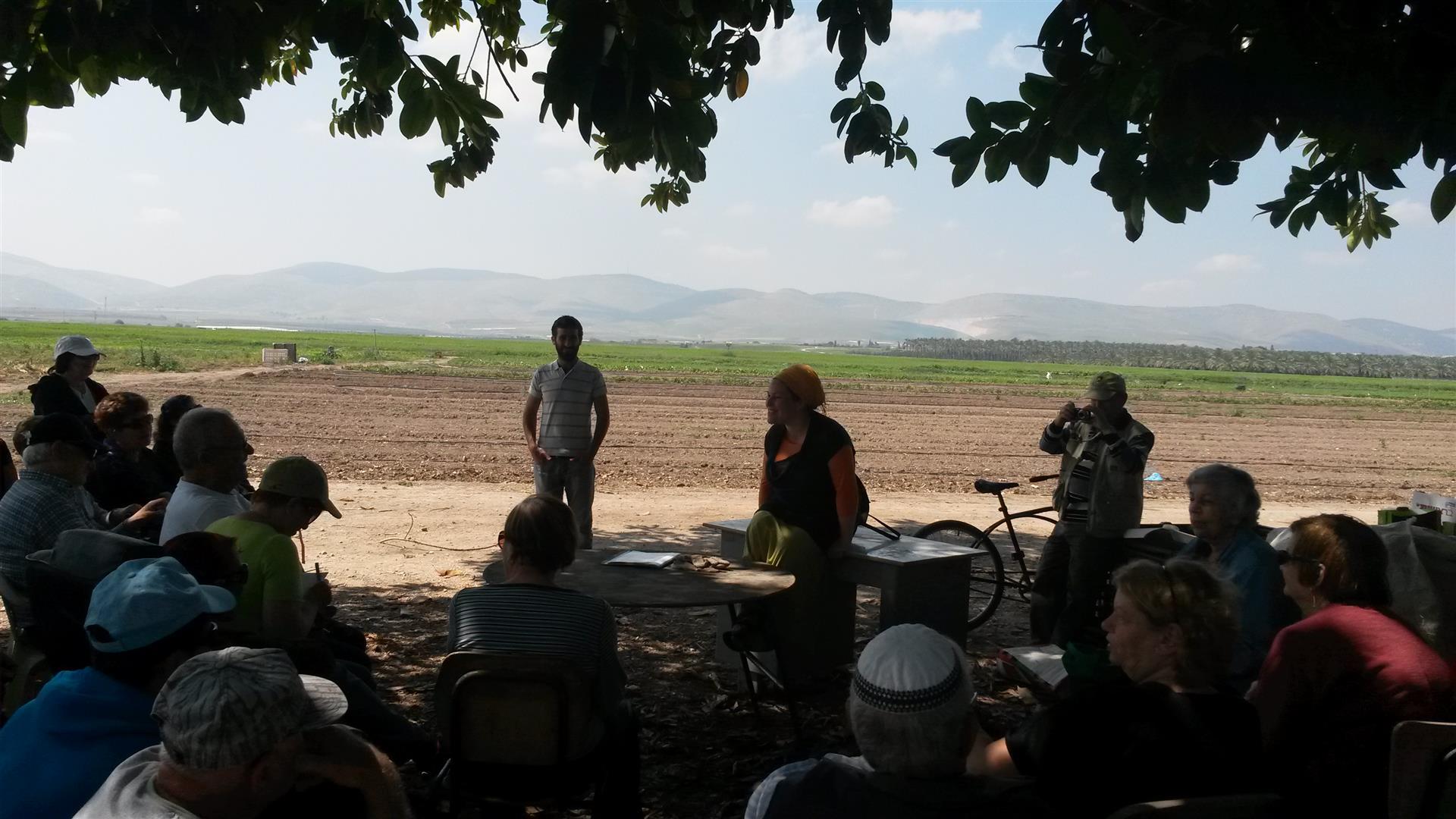 הדרכה בסיור קסום בין השדות עם הגידולים האורגניים של הקיבוץ