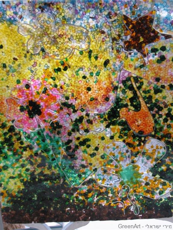 פריחה בשדה יצירה מפתיתי פוליאסטר- אמנות ירוקה