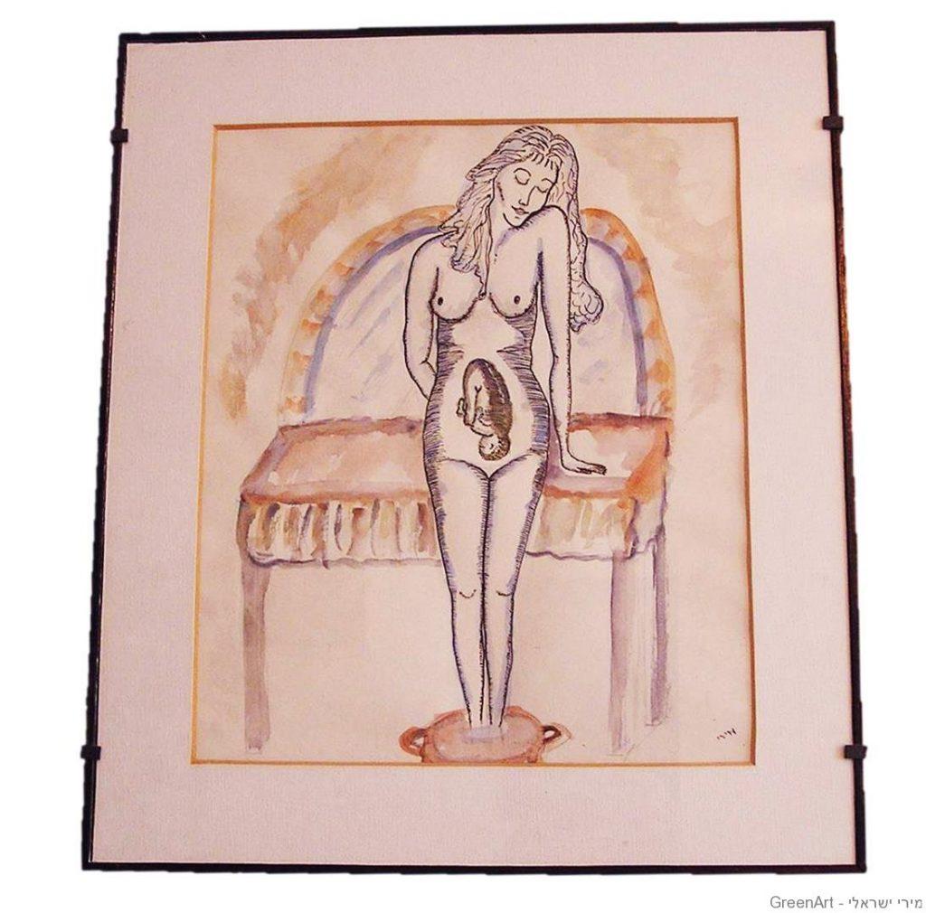 אשה הרה  ציור בצבעי מים