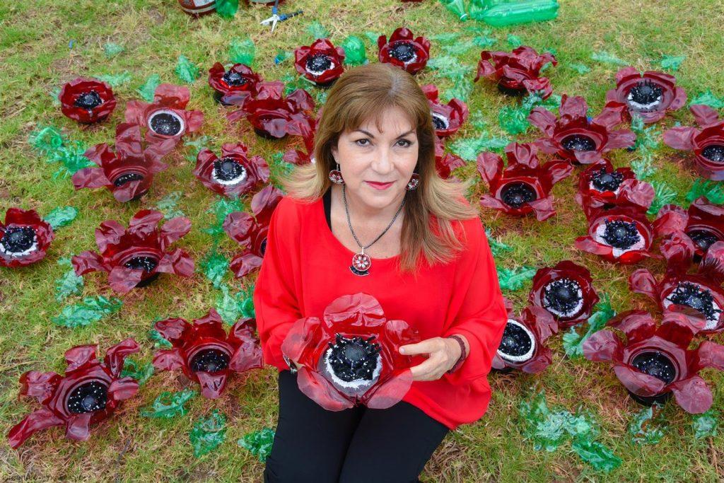 שדה כלניות ופרגים מבקבוקי פלסטיק - צילום ויקי מוצפי