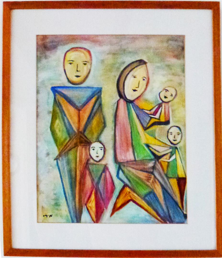 משפחה גאומטרית ציור בצבעי מים