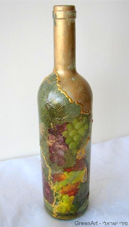 עיטור בקבוק זכוכית במפיות בשימוש חוזר