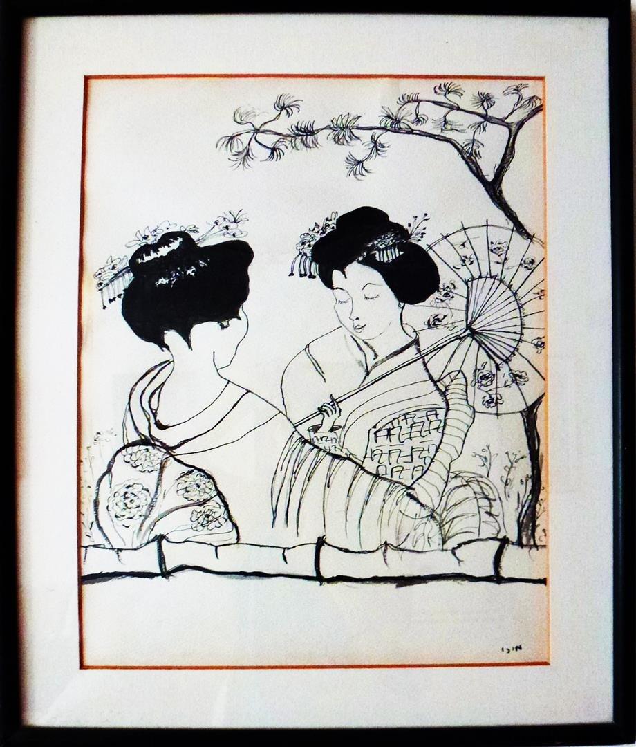 יפניות  בגן יפני רישום בטוש שחור
