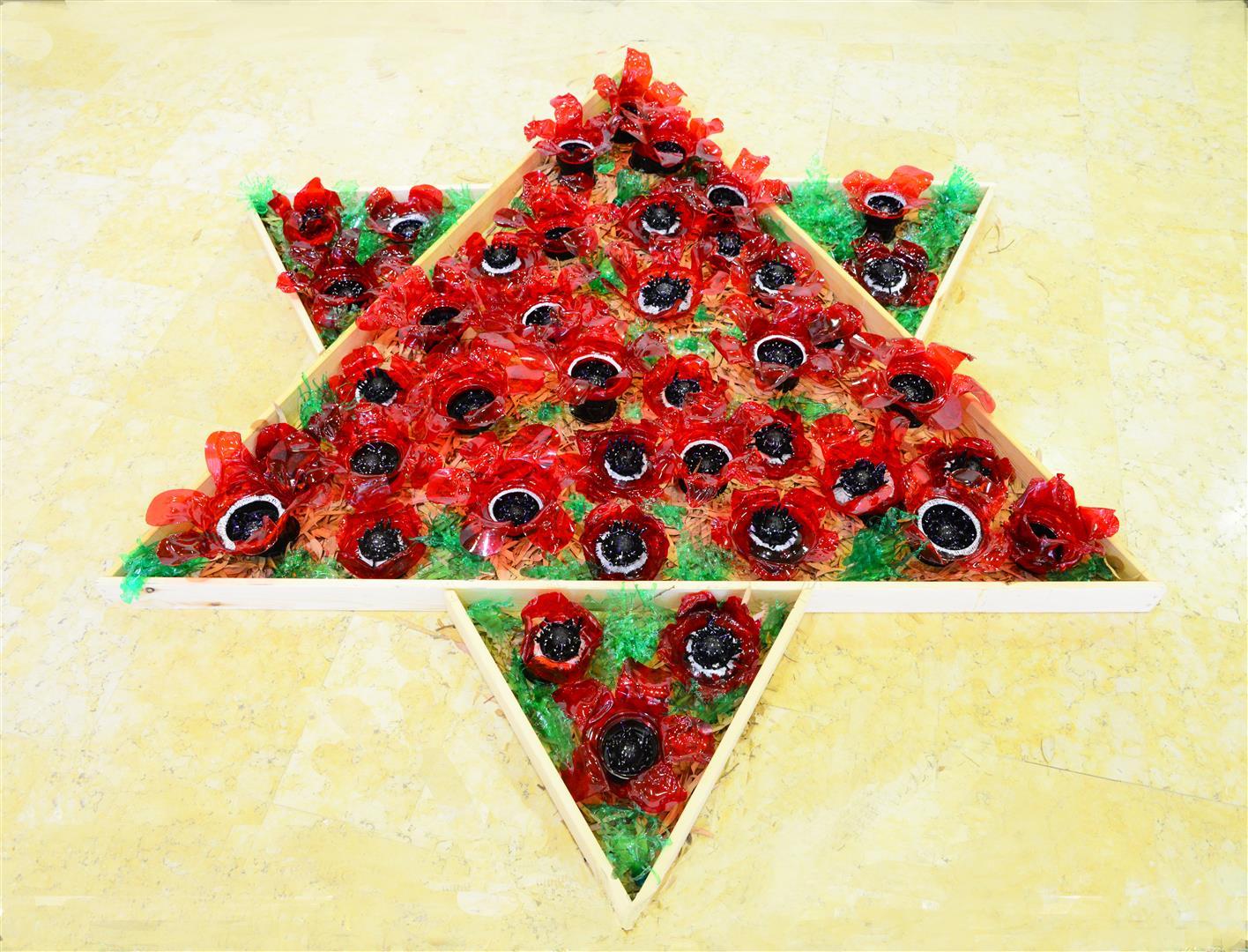 מגן דוד עם כלניות אדומות מבקבוקי פלסטיק בשימוש חוזר - אמנות אקולוגית עם מסר סביבתי