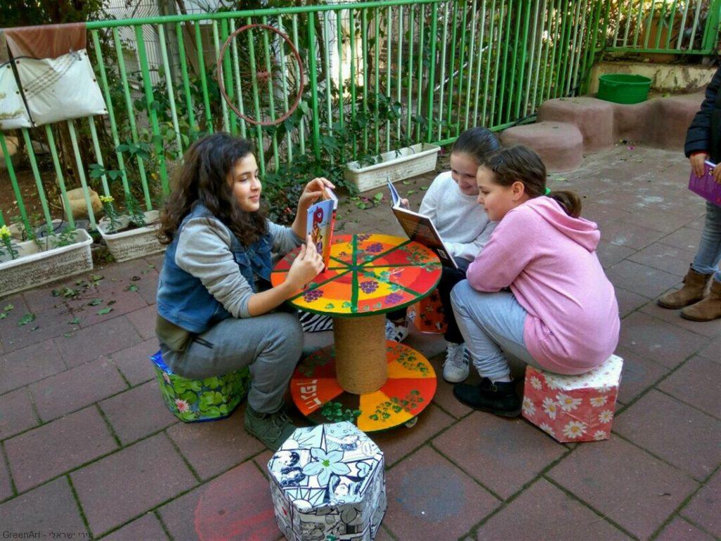 תלמידי הגפן נהנים מפרי יצירתם- פינת ישיבה אקולוגית מקרטוני חלב