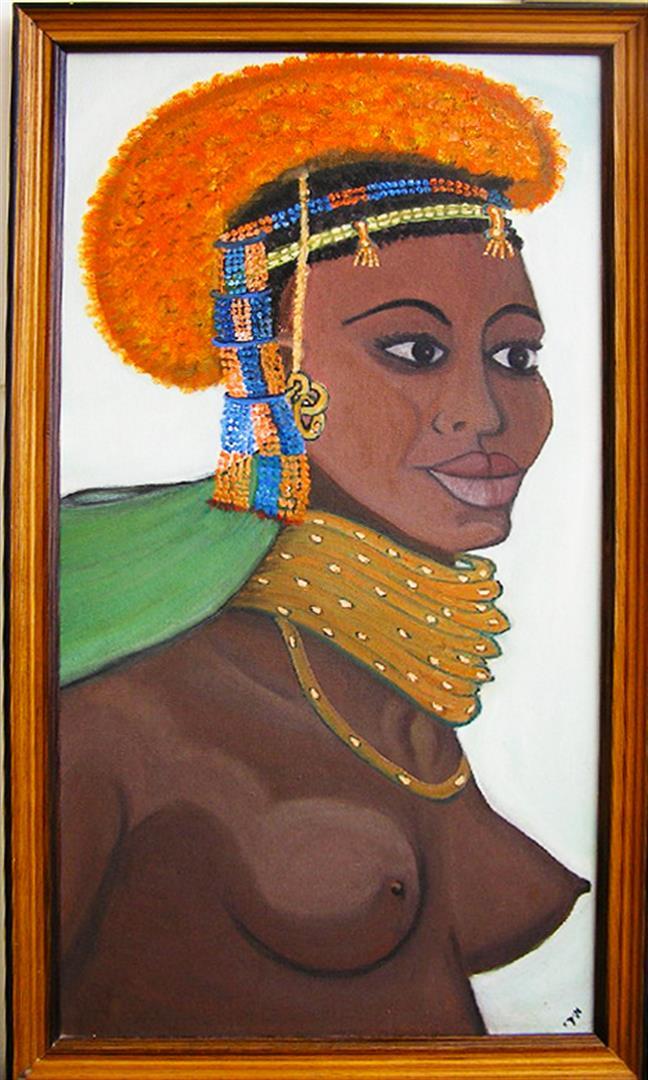 כושית משבט המסאי ציור בשמן