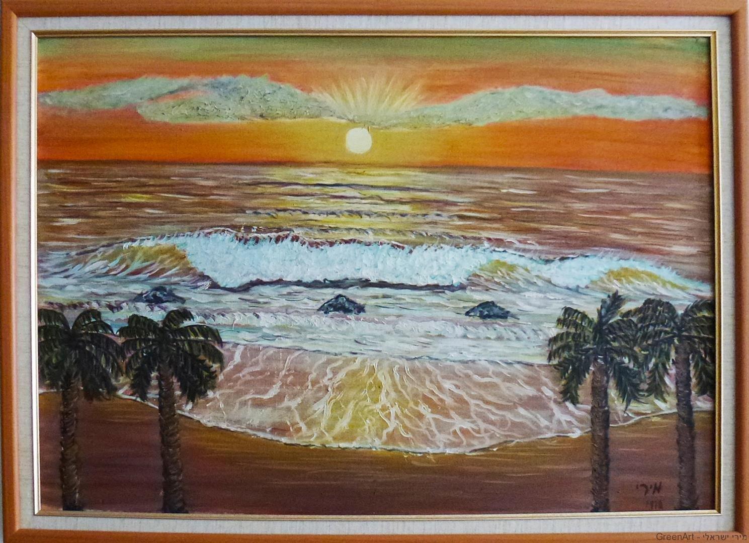 שקיעה ביפו ציור בצבעי שמן
