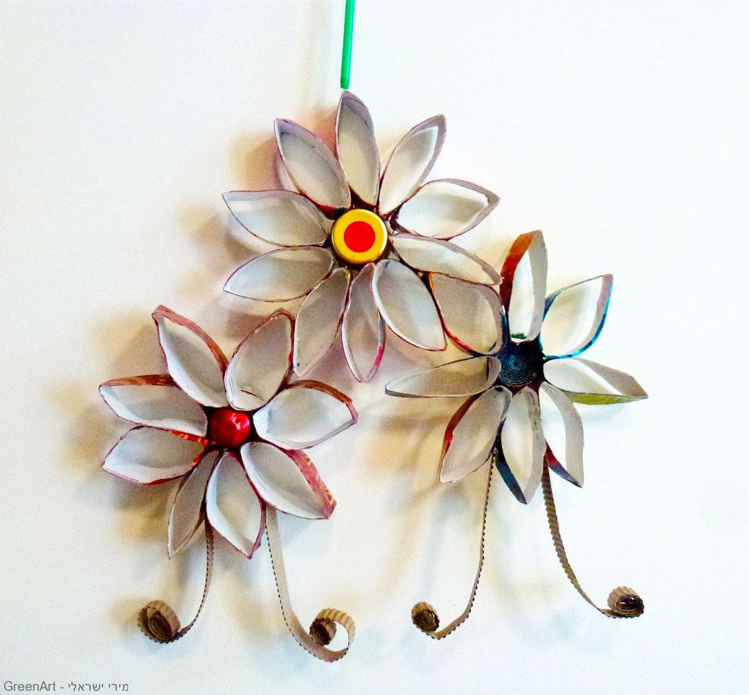 מוביילים פרחים מגלילי קרטון, פקקים וקשים