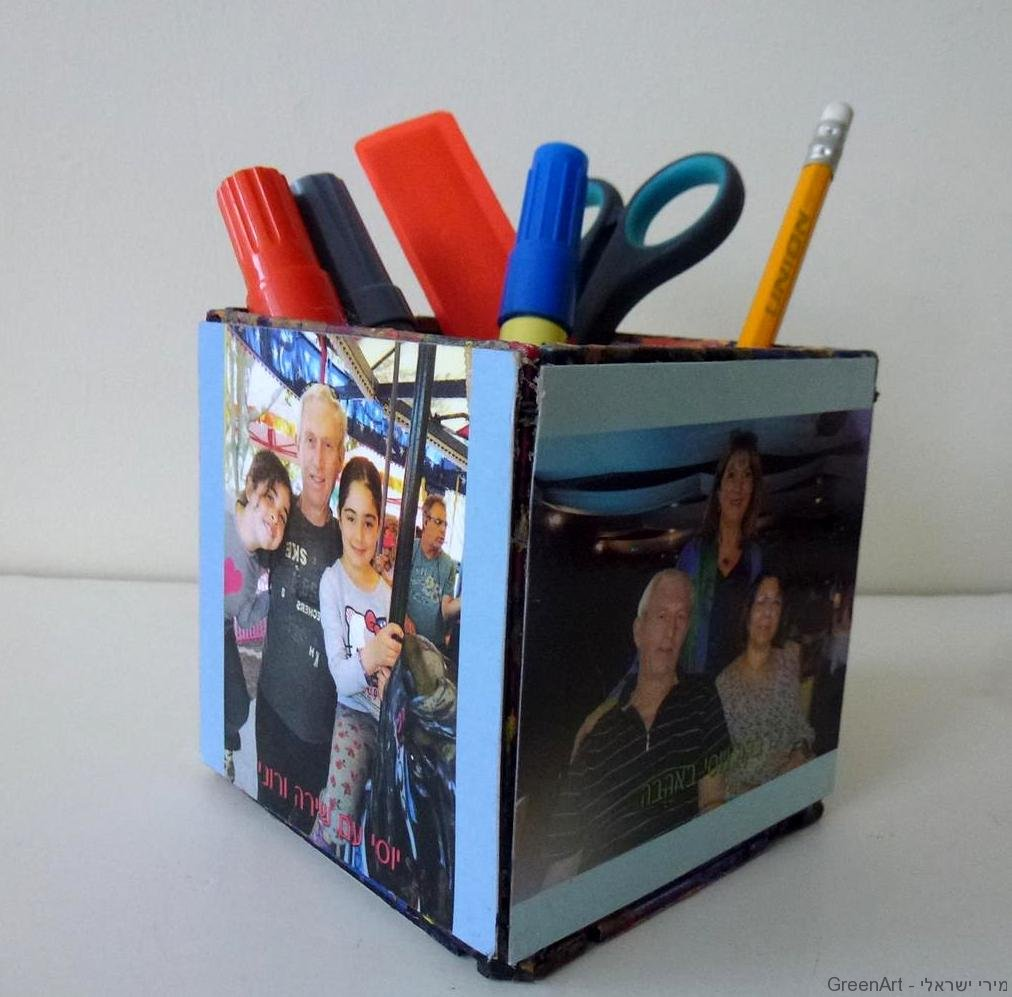 קופסת דיסקטים לשימושים שונים  מעוטרת בתמונות משפחתיות