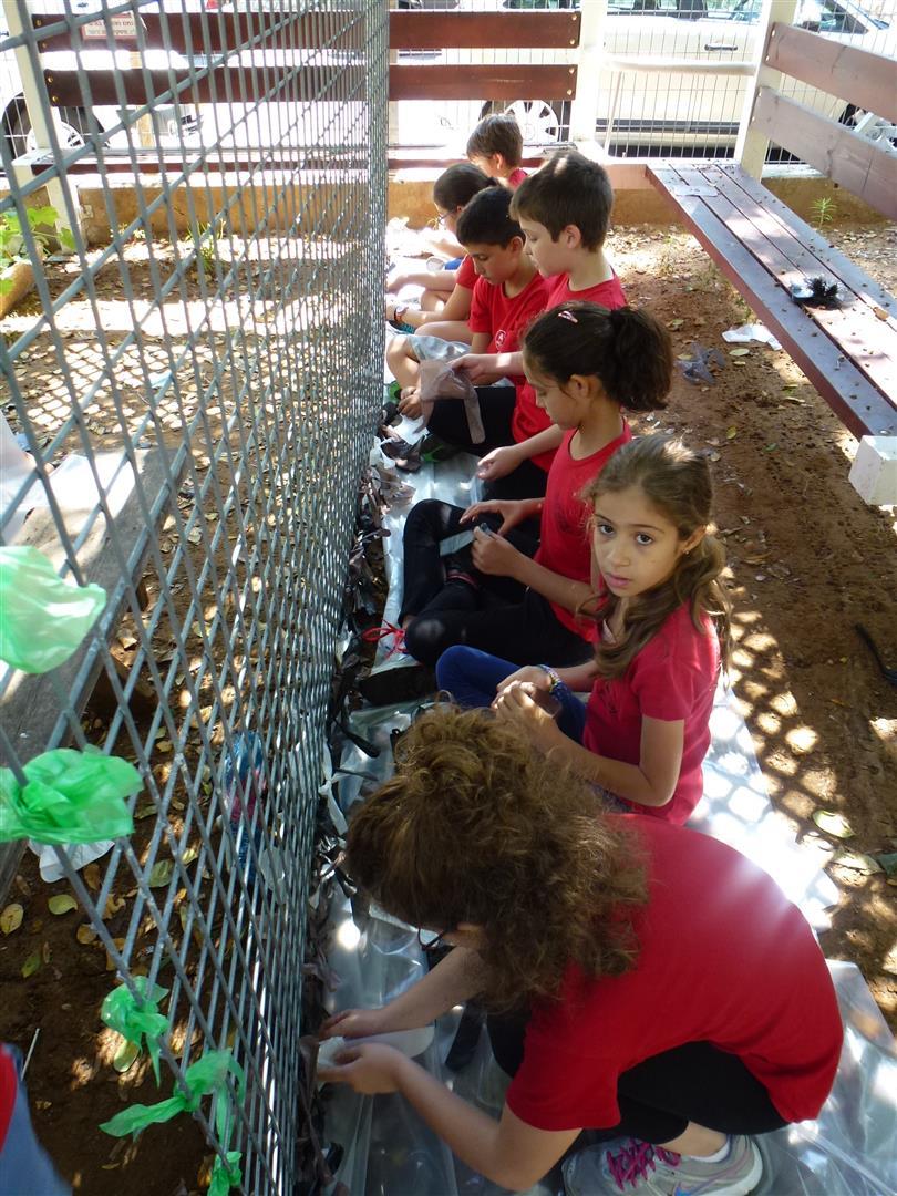 תלמידי כצנלסון מעטרים את הגדר בשקיות ניילון צבעוניות