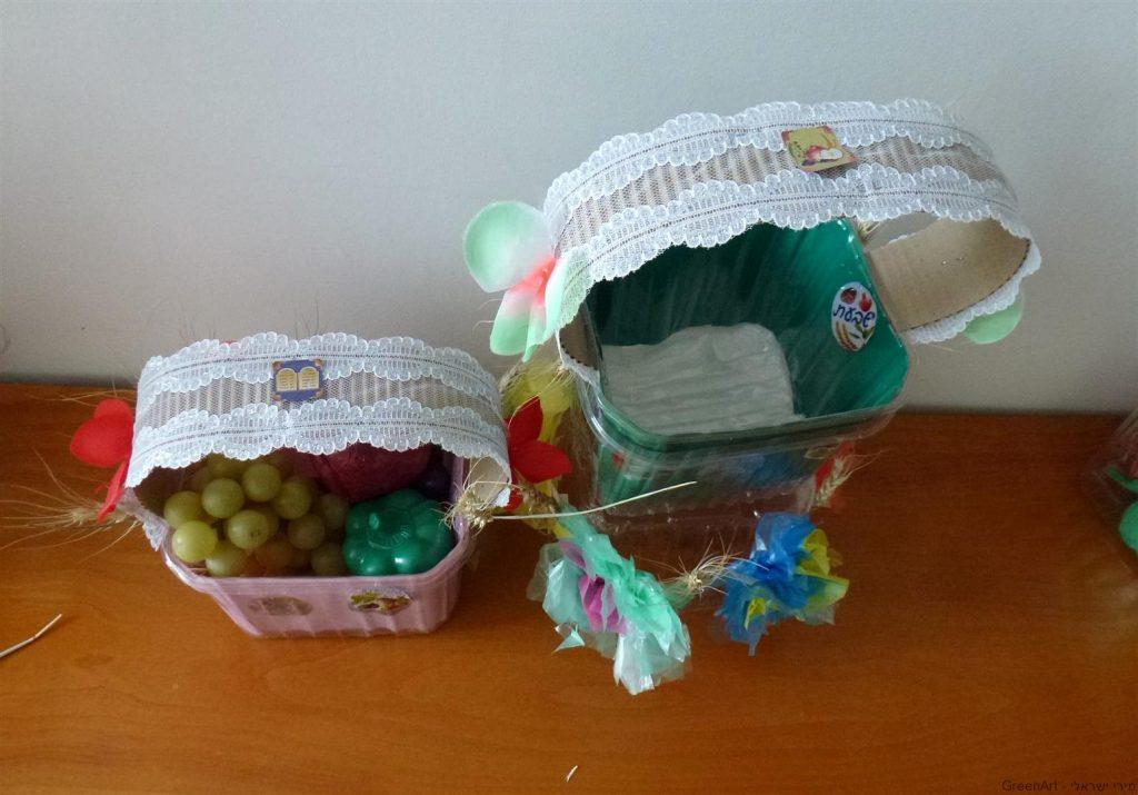 טנא חגיגי לשבועות מחומרים בשימוש חוזר