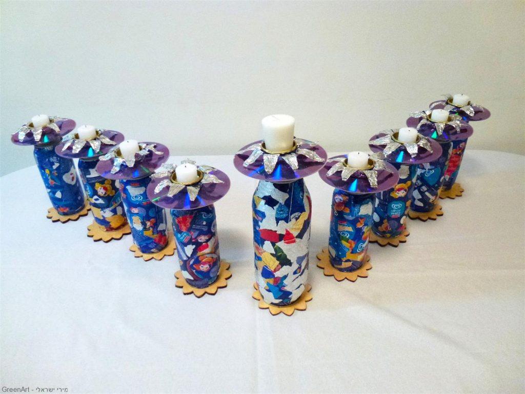 חנוכייה זוהרת מחומרים ממוחזרים לחג החנוכה- Menorah made from recycled materials