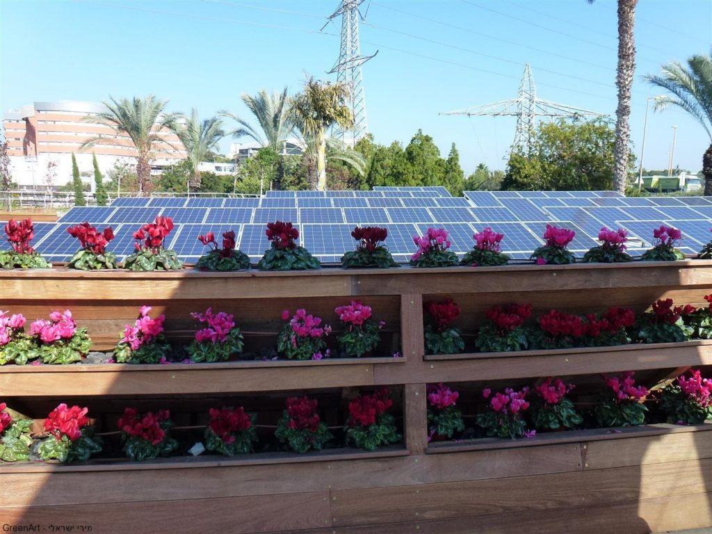 קולטים סולארים על גגות הבנין ליצור חשמל נקי