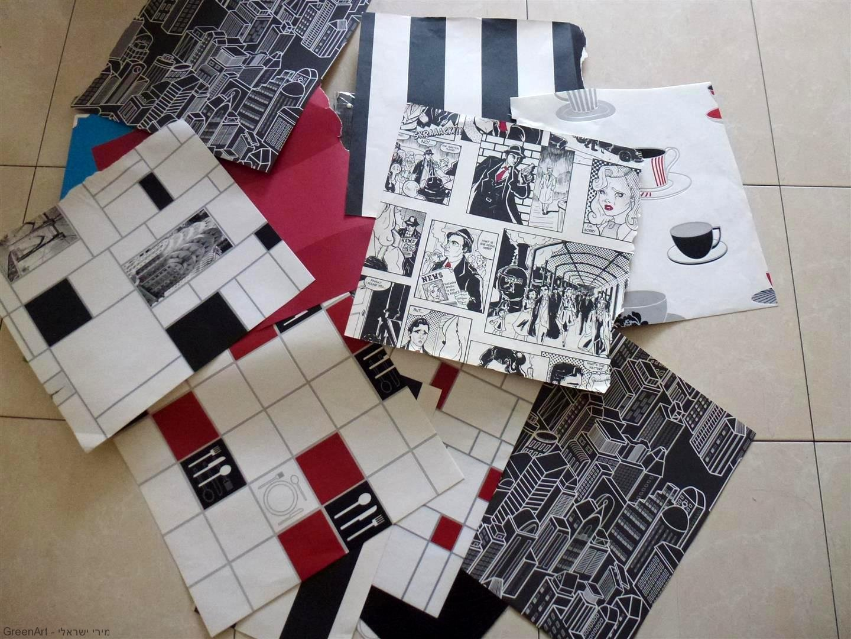 שאריות קאפות ושאריות טפטים לצורך עיצוב השולחן