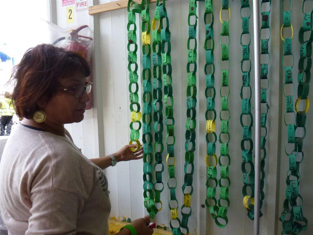אורנה מחברת את חוליות צמידי המבקרים שביקרו במרכז