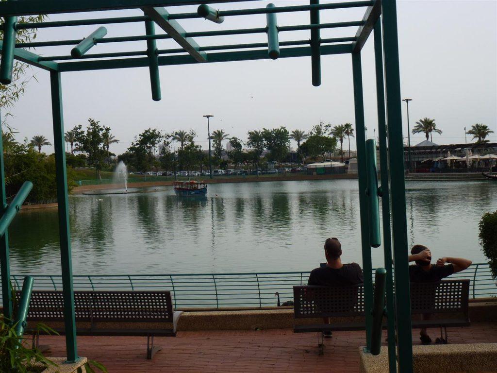 מבט אל האגם שבפארק רעננה מול גן הריחות והצלילים