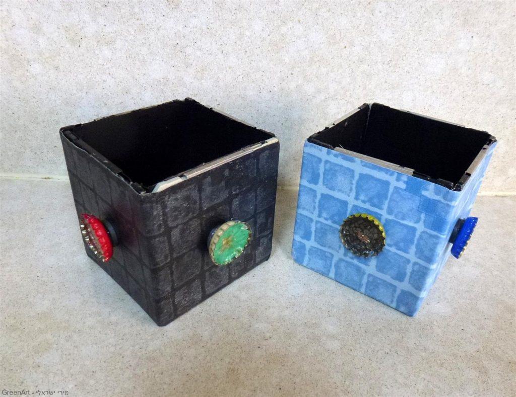 קופסאות אחסון שעיצבתי לשימוש פנימי וחיצוני עם פקקי מתכת לתזכורות