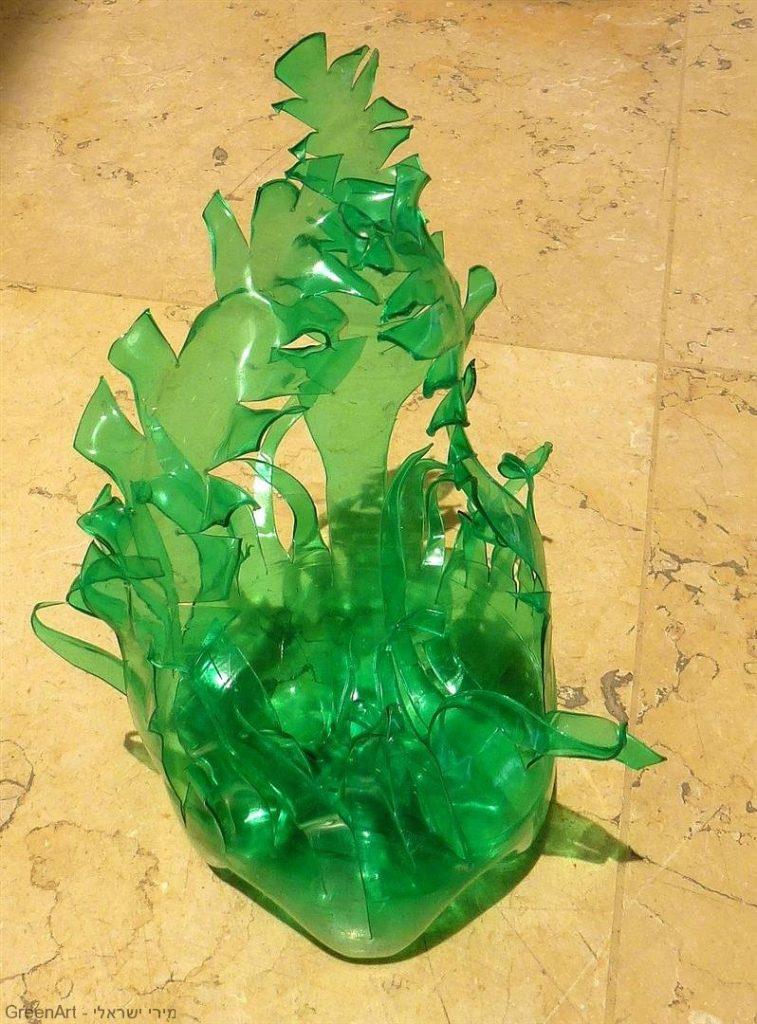 עשב בר מבקבוק פלסטיק ירוק- חלק משלל העשבים במיצב מגן דוד