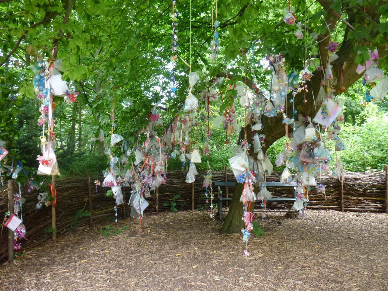 עץ המוצצים בגני העיר, בו תלויים מאות מוצצים עם מכתבי פרידה מהילדים
