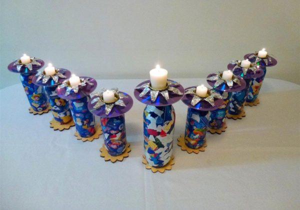 רעיון ליצירת חנוכיה זוהרת וממוחזרת לחג החנוכה