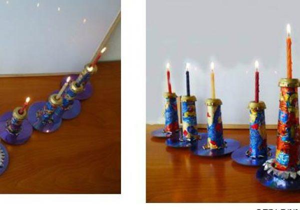 רעיונות ליצירה לחג החנוכה מחומרים בשימוש חוזר.